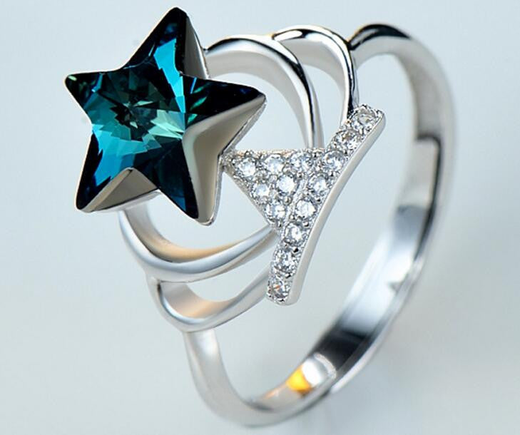 Blue Crystal Star Cocktail Ring