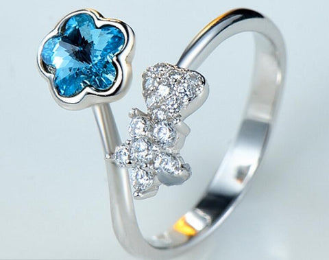Blue Plum Blossom Cocktail Ring