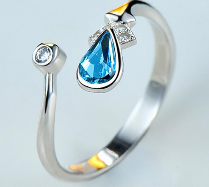 Fashion Blue Crystal Silver Ring