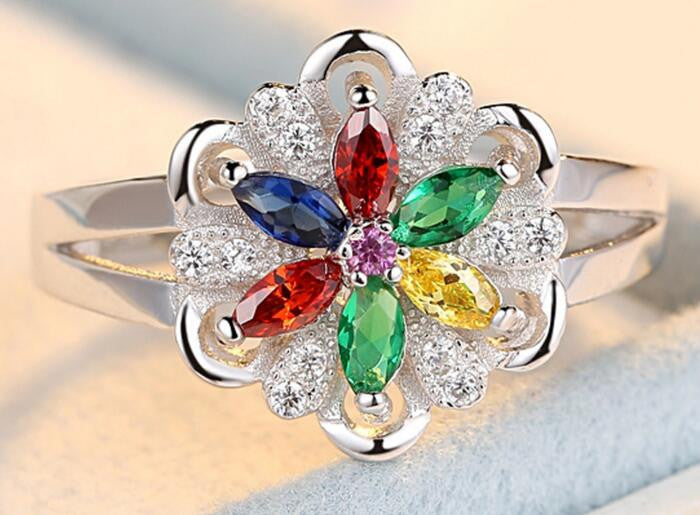 Colorful Flower Ring in Sterling Silver