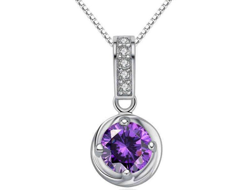 Purple Crystal Zircon Pendant Necklace