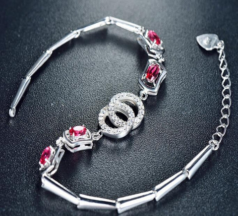 Red Crystal Silver Charm bracelet