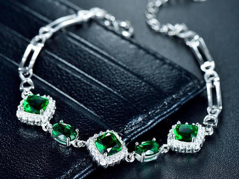 Green Diamond Charm Bracelet