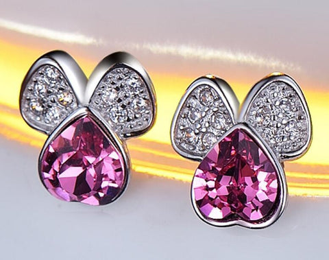 Lovely Shiny Purple Stud Earrings