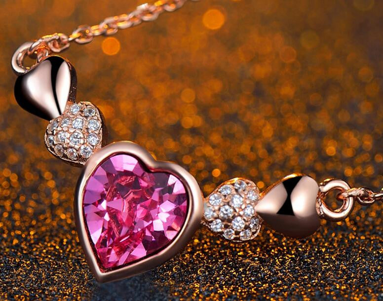 Heart-shaped Rose Golden Silver Pendnat Necklace