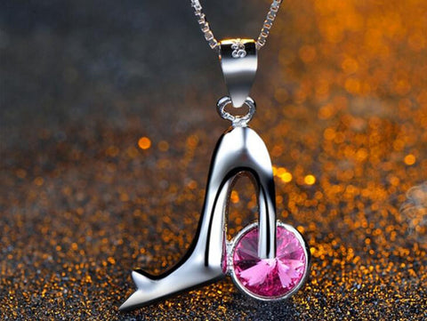 High Heel Silver Pendant Pecklace
