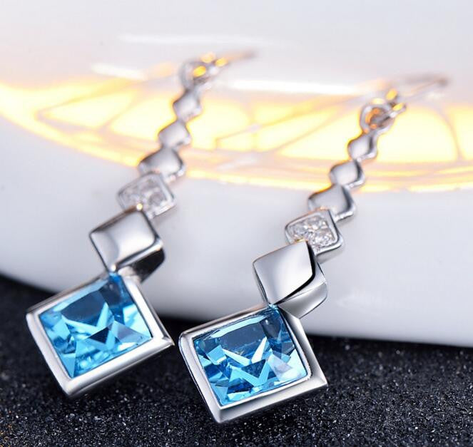 Simple Style Square Crystal Drop Earrings