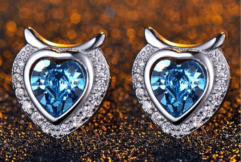 Heart of Ocean Blue Stud Earrings