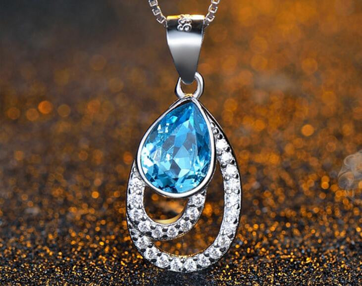 Pear-shape Blue Crystal Pendnat Necklace