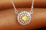 Yellow Sunflower Silver Pendant Necklace