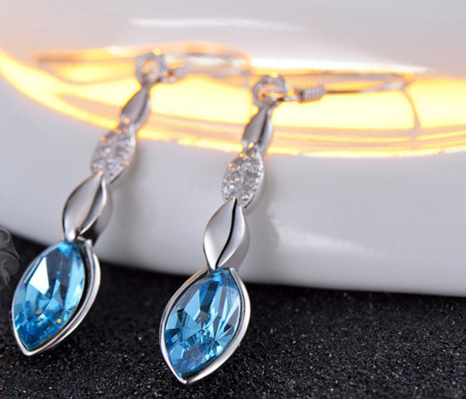 Blue Diamond Drop Earrings