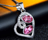Pink Heart Shape Silver Pendant Necklace