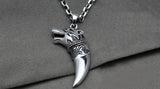 Wolf's Head Pendant Necklace in Sterling Silver