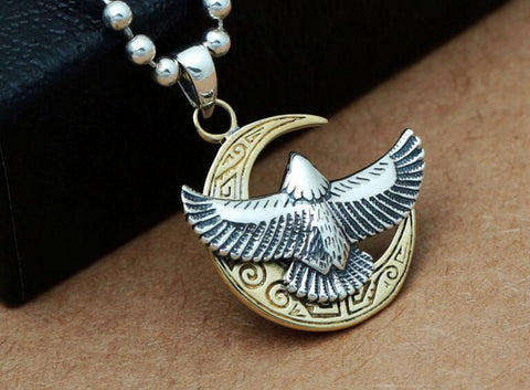 Flying Eagle Pendant Necklace in Sterling Silver