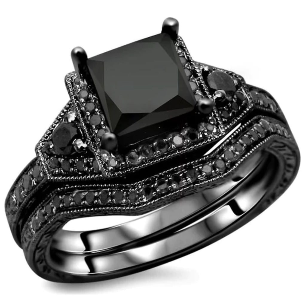 Black Diamond 925 Sterling Silver Engagement Ring Set ...