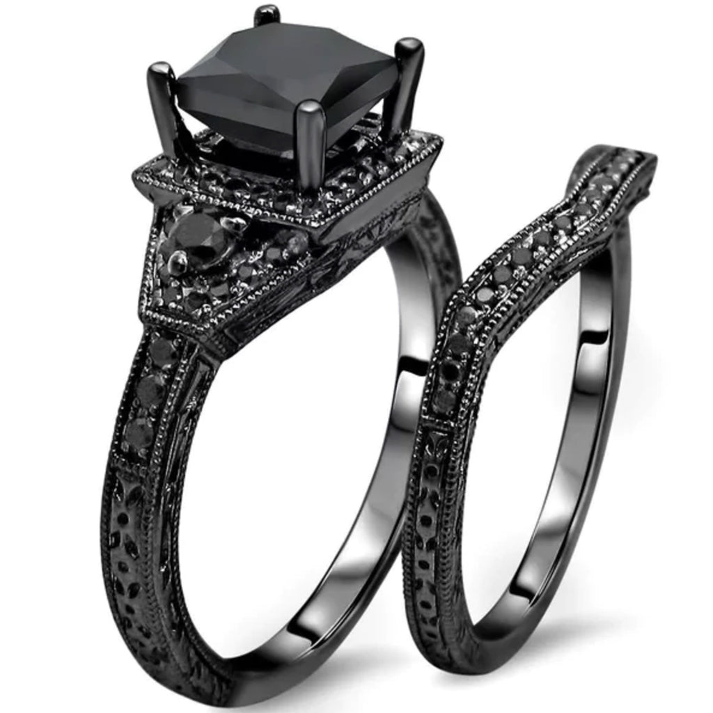 Black Diamond 925 Sterling Silver Engagement Ring Set. Images / 1 / 2 / 3  ...