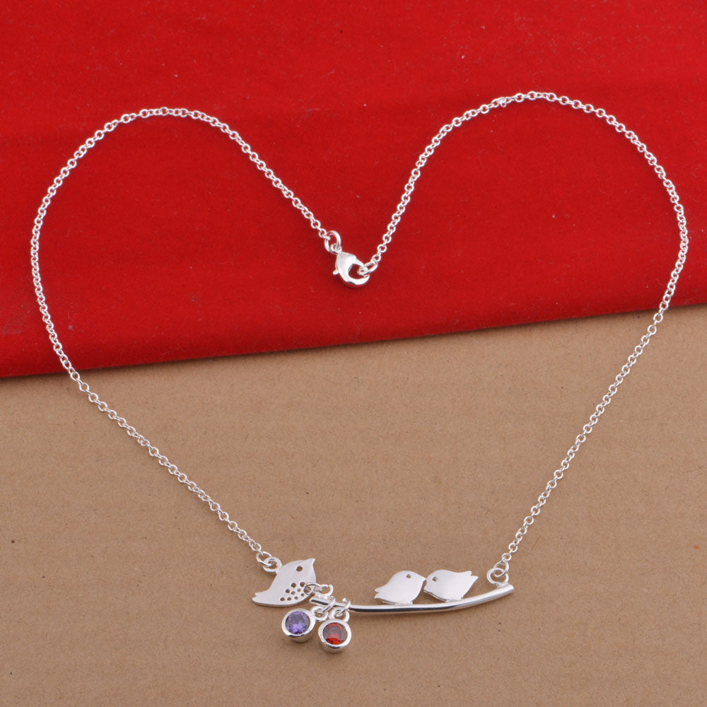 a461c6decabe0 Mommy and Baby Birds with Birthstones Necklaces - EverMarker