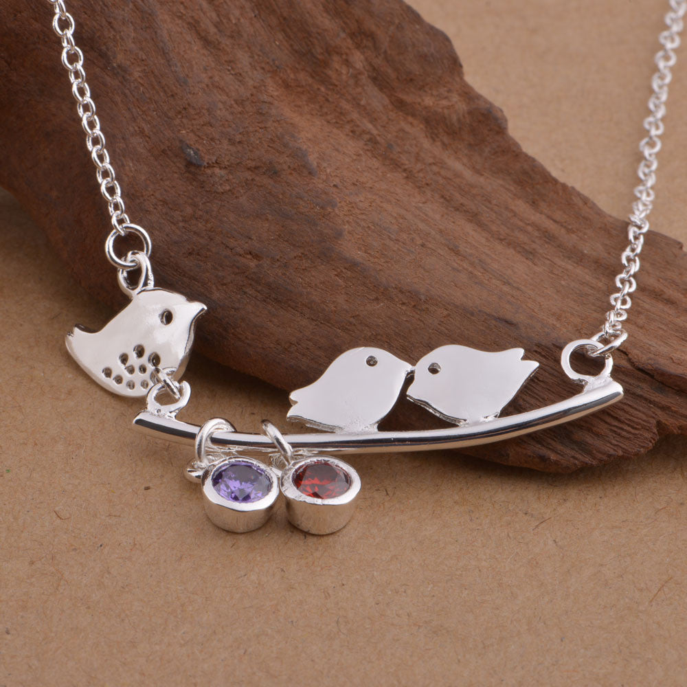 Mommy and Baby Birds with Birthstones Necklaces
