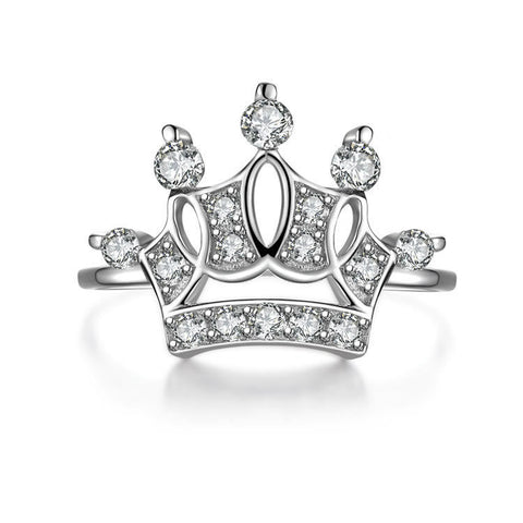 """The Queen's Crown"" Climple Edges and Corners Hollowed 925 Sterling Silver Statement Ring"