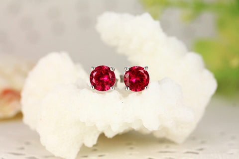 Round Cut Ruby Diamond Stud Earrings