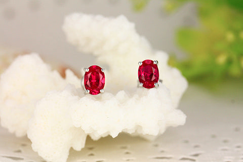 Oval Red Gemstone Stud Earrings
