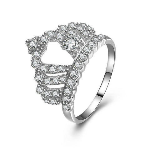 Special Crown Pattern With Heart-shaped Hollowed 925 Sterling Silver Ring With Zircons