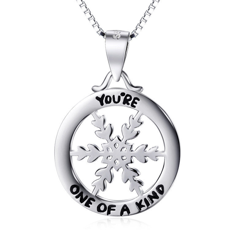 "925 Sterling Silver Snowflake ""you're one of a kind"" Stamped Pendant Necklace"