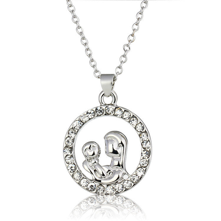 Mother's Love Mom Hugging Baby Pendant Necklace