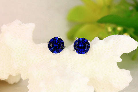 Princess Blue Gemstone  Stud Earrings