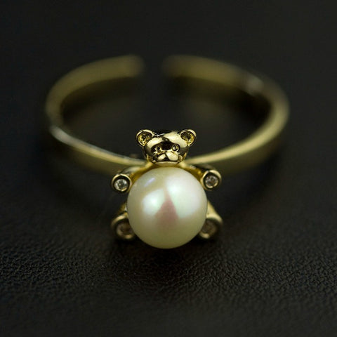 Lovely Bear With Natural Pearl Zircon Ring
