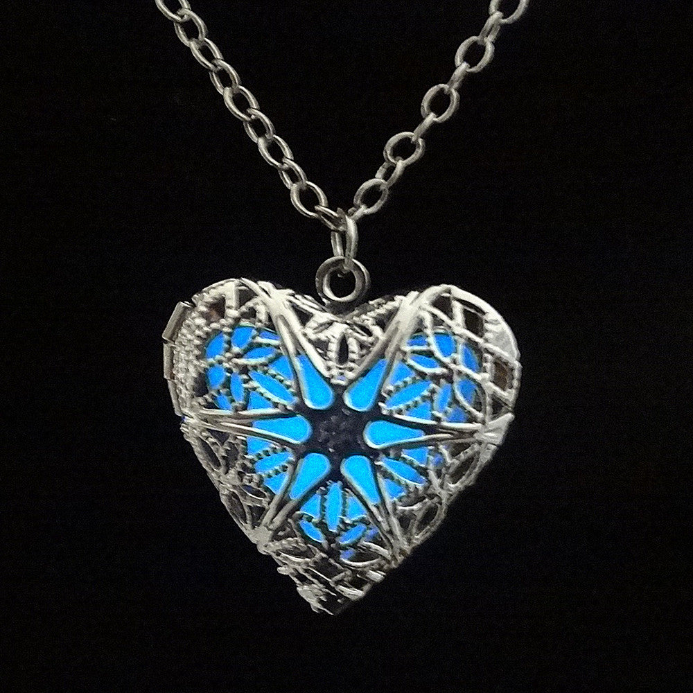 Hollow Heart Luminous White Gold Plated Necklace