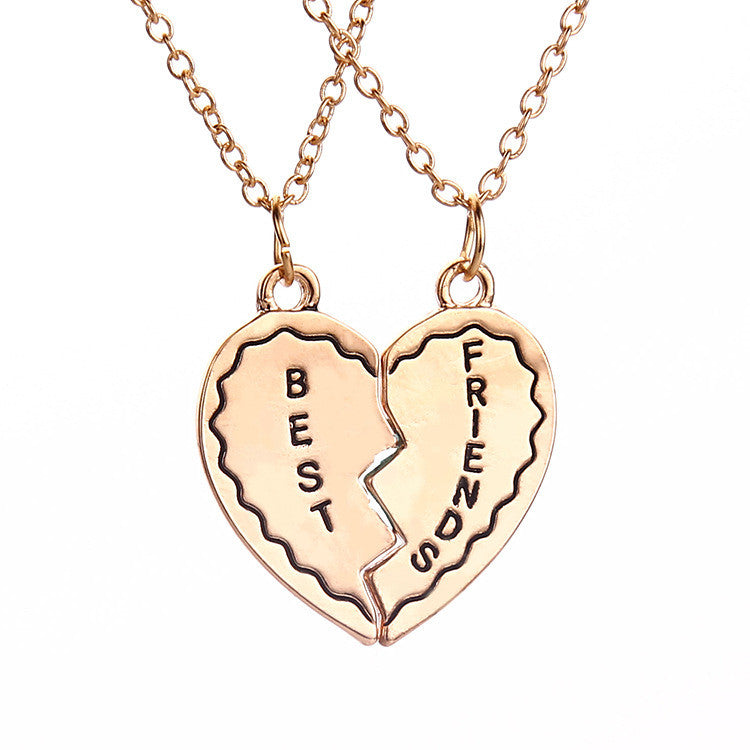 Best Friend Friendship Heart Shaped Interlocking Pendant Necklaces