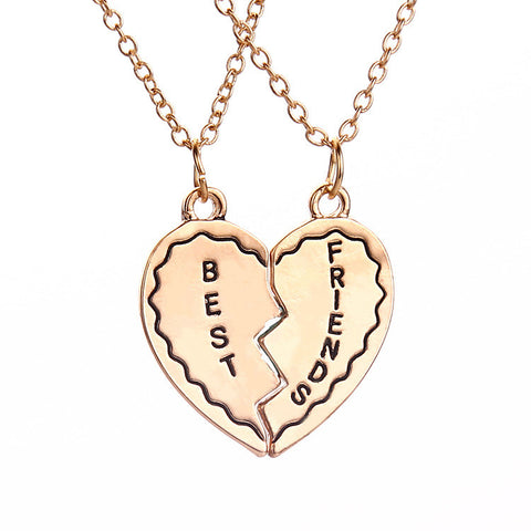Personalized Best Friend Friendship Heart Shaped Interlocking Pendant Necklaces