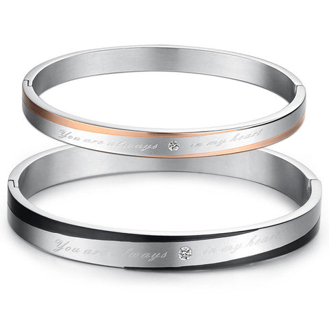 Personalized Couple Bangles Bracelets Daily True Love Stainless Steel Silver
