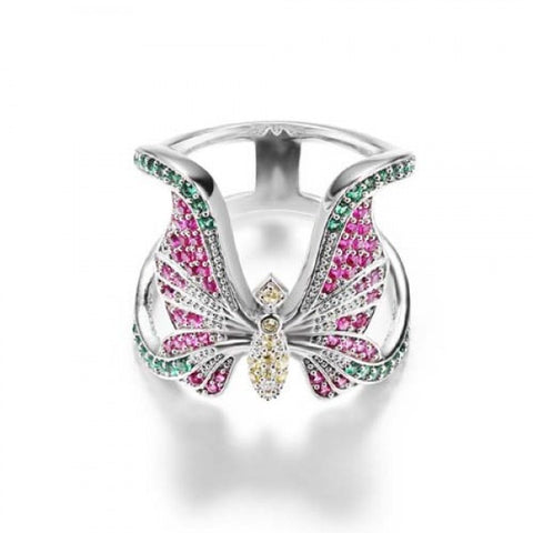 Shining Butterfly-shaped Diamond Women's Statement Ring