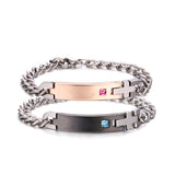 Personalized Pink Champagne and Black Female&Male Crystal Inlaid Titanium Couple Bracelets