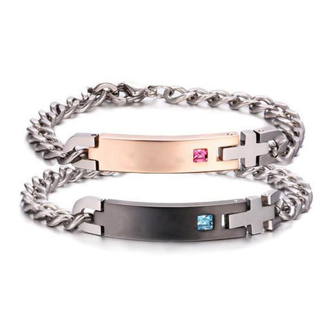 Personalized Pink Champagne and Black Crystal Inlaid Titanium Couple Bracelets
