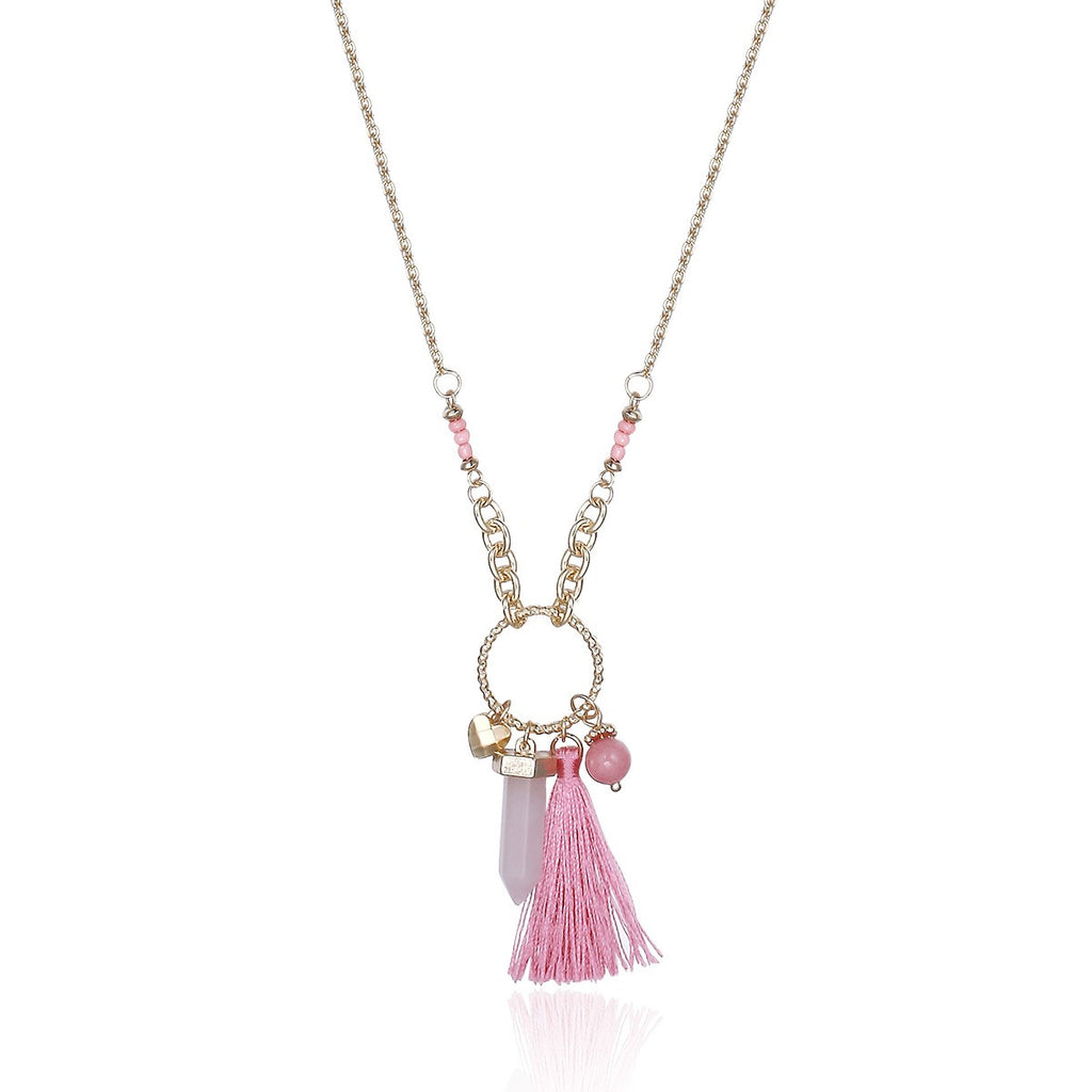 Gold Chain Tassel Opal Women Pendant Necklaces Sweater Necklace