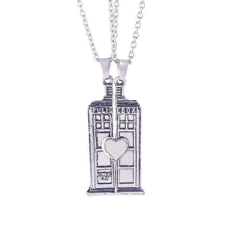 Doctor Who TARDIS Phone Booth Couple Necklaces