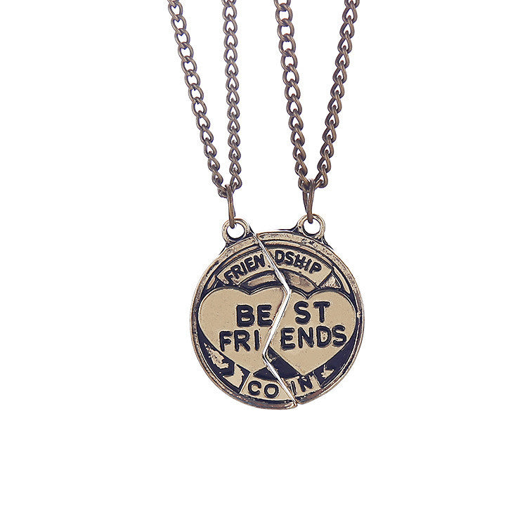 Best Friend Friendship Interlocking Pendant Necklace