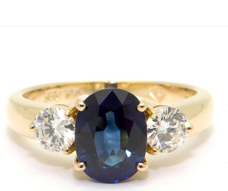 Oval Created Sapphire Diamond Cocktail Anniversary Promise Engagement Ring