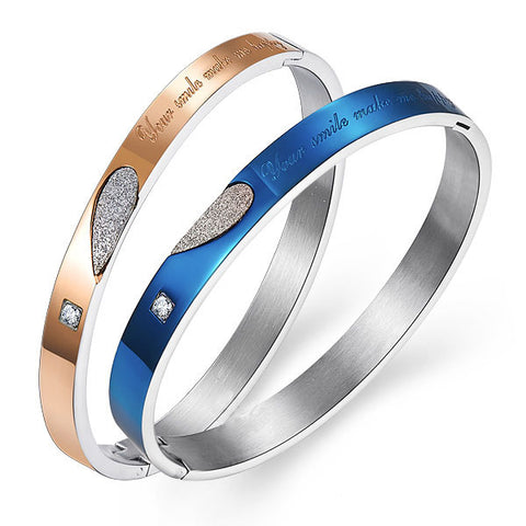 Love Matching Heart Titanium Zircon Inlaid Couple Bracelet