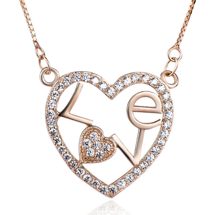 925 Sterling Silver Rose-Gold Plated Heart Shaped Pendant Necklaces