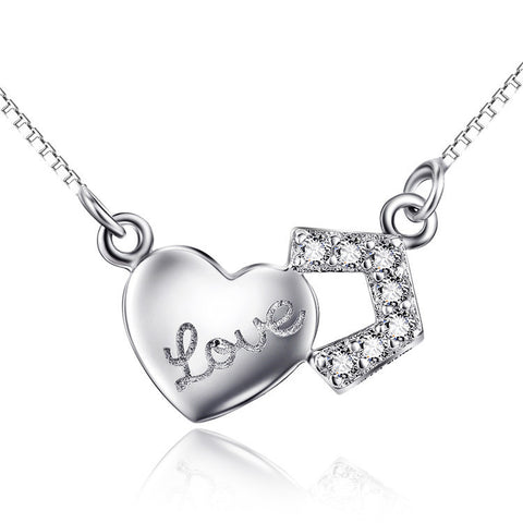 925 Sterling Silver Love Letter and Diamond Mounted Pendant Necklace