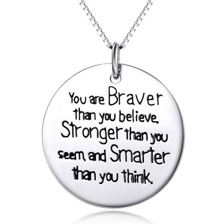925 Sterling Silver Inspirational Quotes Stamped Pendant Necklaces