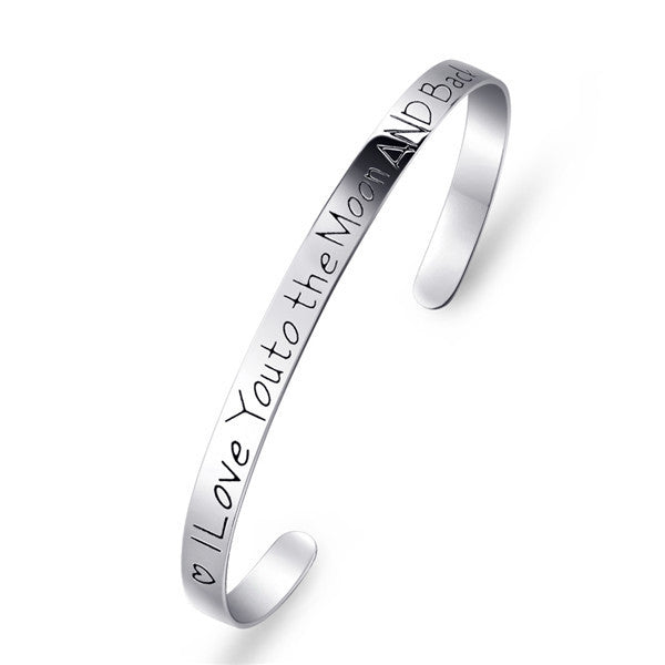 "925 Sterling Silver ""i love you to the moon and back"" Cuff Bracelet"