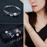 Girly Tri-Layer Fashionable Pearl Butterfly Bracelet