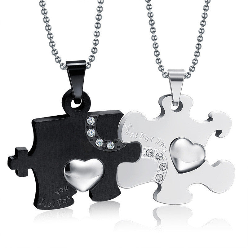 Heart Puzzle Cubic Zircon Inlaid Couple Necklaces