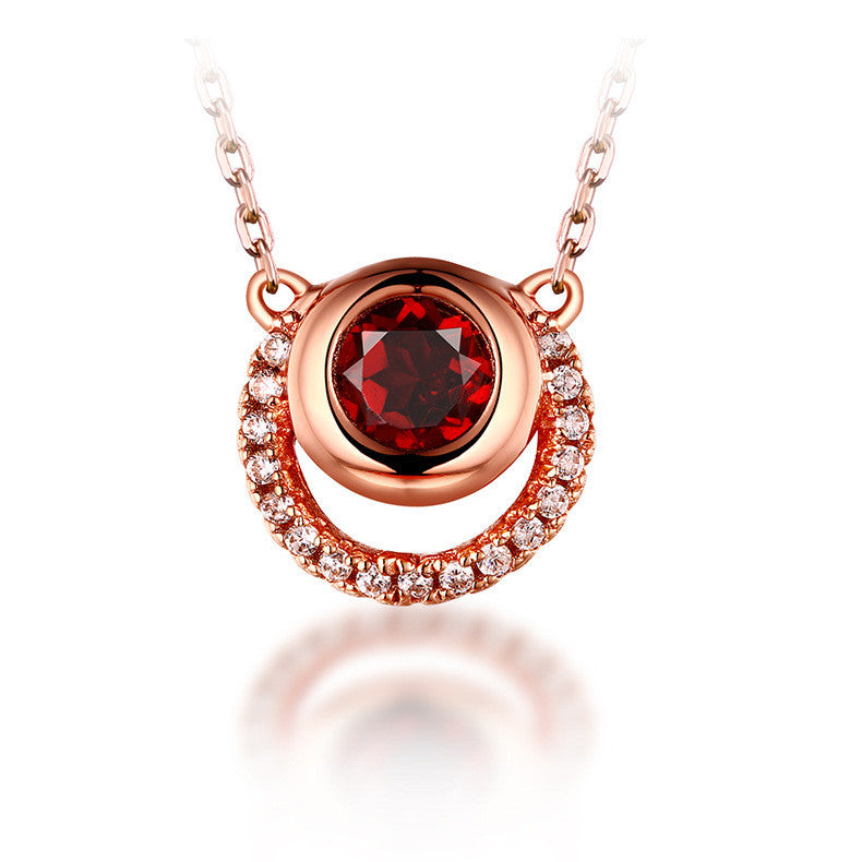 Evil Eye Garnet Rose  Golden Silver Pendant Necklace