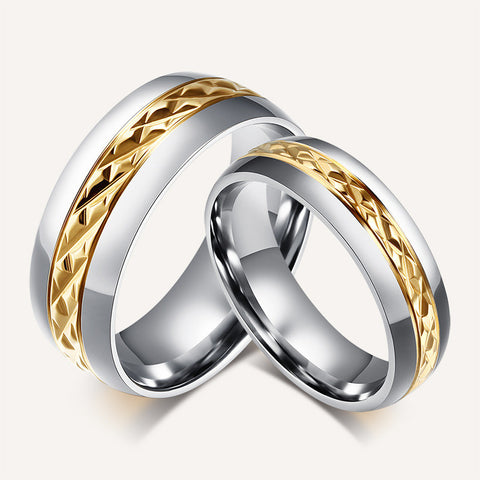 Gold Plated Titanium Steel Couple Rings Engagement Rings